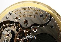 Antique Hamilton 992E Triple Sunk Railroad RR Pocket Watch Vintage Circa 1938