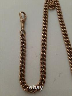 Antique Heavy 9ct Rose Gold Double Albert Pocket Watch Chain 41.5 Grams 9 Carat