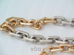 Antique Heavy Solid 14k Rose Gold & Platinum Pocket Watch Chain Necklace 19.2 G