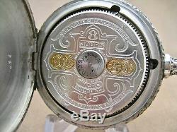Antique Hebdomas 8 Jours Open Face Pocket Watch Running