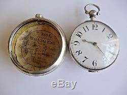 Antique Hem & Baker of Boughton Sterling Silver pair fusee pocket watch c. 1845