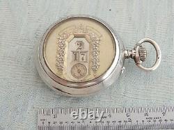 Antique Jump Hour Digital Gedeon Thommen GT IWC Pallweber Silver Pocket Watch