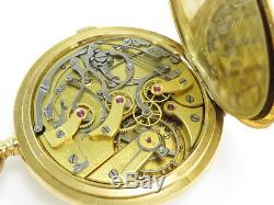 Antique LONGINES 18K SOLID GOLD ONE BUTTON CHRONO HUNTER POCKET WATCH Cal 19.73N