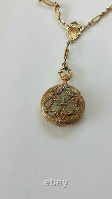 Antique LONGINES Ladies Pendant Watch 18K Yellow Gold & Enamel + 14K Necklace