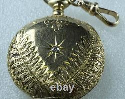 Antique Ladies Elgin Pocket Watch 14K Hand Engraved Accent Diamond Runs