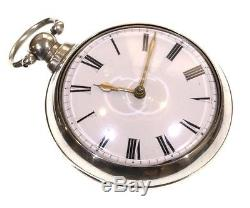 Antique Large 1830 Pair Cased Silver Fusee Verge Pocket Watch. Serviced