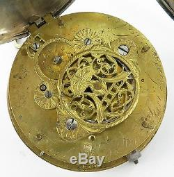 Antique / Large Pair Case Sterling Silver Verge Fusee, Working