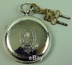 Antique Large Silver Centre Second Chronograph Pocket Watch Chester 1892
