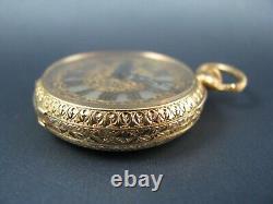 Antique Le Roy & Fils 14K Gold & Enamel & Diamonds 32mm Pocket Watch 1880