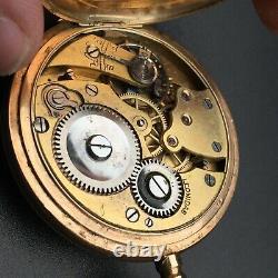 Antique Leonidas Solid Gold 56 14k Hunter Pocket Watch 24s Working 78Gr