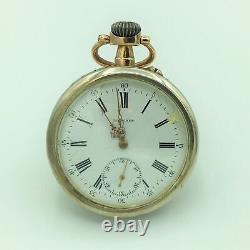 Antique Longines Grand Prix 1889 Open Face Pocket Watch Size 15s