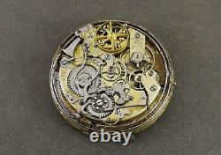 Antique MINUTE REPEATER Chronograph Pocket Watch Movement & Dial. Working