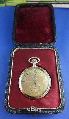 Antique MODERNISTA Jump Hour 50mm Gold Plated Pocket Watch with Box. Ca 1910