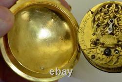 Antique Memento Mori Skeleton Grim Reaper Verge Fusee Oignon pocket watch c1720