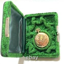 Antique Multi Color 14K Sold Gold Elgin pocket watch Hunter case