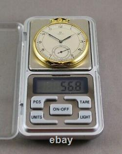 Antique OMEGA Art Deco Solid 18k Yellow Gold 47mm Pocket Watch. WithBox