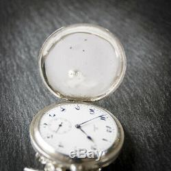 Antique Omega Silver Full Hunter Pocket Watch with Chain and Box