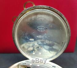 Antique Omega Solid Silver Pocket Watch White Enamel Dial