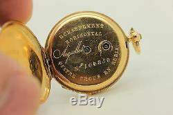 Antique Original 18 K Gold Enamel Diamond Decorated Pocket Watch