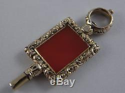 Antique Ornate 9ct 9K Gold Clad Pocket Watch Key Agate Set