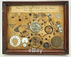 Antique Parts One Riverside 16 Size Pocket Waltham Watch Framed Display Salesman