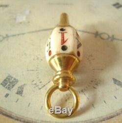 Antique Pocket Watch Chain Fob 1890 Victorian Brass & Bone Large Gambling Fob