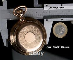 Antique Pocket Watch Chronometer 18K Solid Gold. Switzerland, 1885