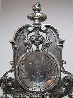Antique Pocket Watch Holder w Pair Griffins Scary Evil Face Torch silver plate