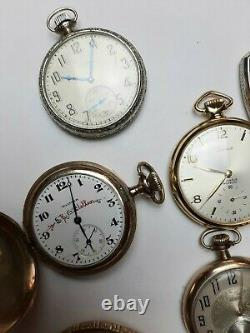 Antique Pocket Watch Lot of 11 Watches Total 10k & 14k Gold Filled Cases ALL RUN