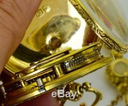 Antique Qing Dynasty Chinese 18k gold&enamel Erotic Verge Fusee watch&chain. 1756