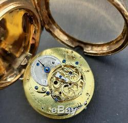 Antique Quarter Repeater Gold Fusee Spinde Watch Ageron a Paris Enamel & Diamond