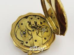 Antique ROBERT THEURER & FILS 18K GOLD, ENAMEL & PEARLS HUNTER POCKET WATCH