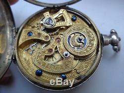 Antique Rare Duplex Calendar For Chinese Market Silver Pocket Watch. 1860 Year