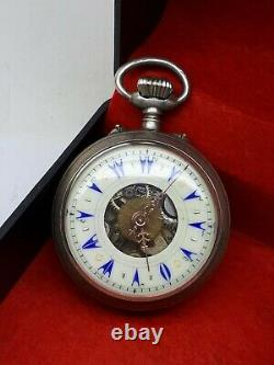 Antique Rare Pocket Watch Ottoman 2 Face Dual Time 800 Silver Big Size Good Work