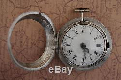 Antique Repousse Pair Silver Case Verge Fusee Pocket Watch Beautiful Dutch Marke