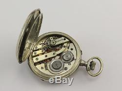 Antique SOLID SILVER TRIPLE DATE MOON-PHASE POCKET WATCH