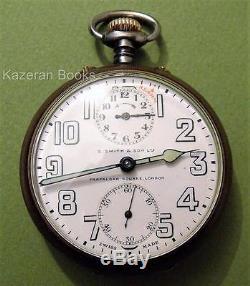 Antique S Smith & Son Zenith Gun Metal Travel Alarm Fob Pocket Watch Working
