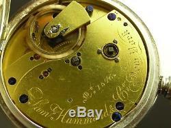 Antique Sam Hammond New York Free sprung Fusee 22 jewels key wind pocket watch