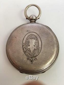 Antique Silver Chronograph Key Wind Pocket Watch 1879 Doctors Watch
