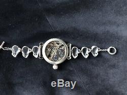 Antique Silver Doxa Masonic Wrist Watch Skull Bracelet Memento Mori Occult Goth