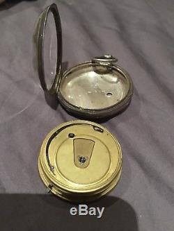 Antique Silver Fusee Pocket Watch 1856 Key Wind