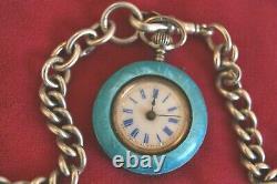 Antique Silver & Guilloche Enamel Swallow Bird Ladies Fob Watch On Chain 65.8g