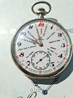 Antique Silver Omega World Time Pocket Watch circa 1910