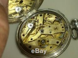 Antique Silver Pocket Watch Key Wind-1/4repetition Repeater-1800's-working-swiss