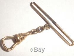 Antique Solid 10k Yellow Gold Swivel Clasp With Bar For Your Pocket Watch Chain