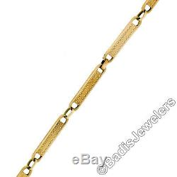 Antique Solid 14k Yellow Gold Long Textured Etched Link 13.5 Pocket Watch Chain