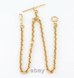 Antique Solid 18Ct Gold Double Albert Watch Chain / Necklace 61grams