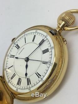 Antique Solid 18ct Gold Half Hunter Pocket Watch By Elkington 124.3g