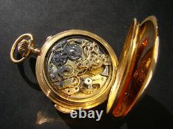 Antique Solid 18k Gold Full Hunter Minute Repeater Chronograph Pocket Watch 1900