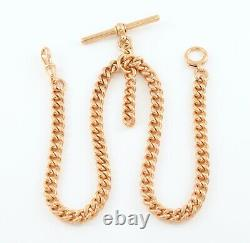 Antique Solid 9Ct Rose Gold Double Albert Watch Chain 15 1/2'